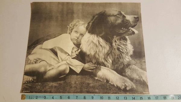 1900's 1747 Chums, Dog with his Girl, Antique poster print, Girl with her Dog, Dogs, Black and White, Nursery Decor, Home Decor, Free Ship