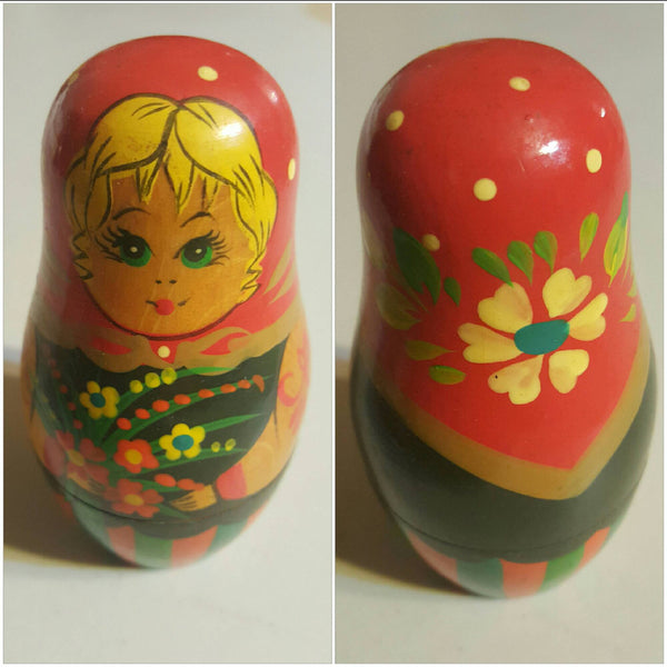 Wooden Nesting Eggs, vintage blonde, free shipping