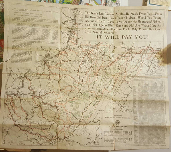 State of West Virginia, Game, Fish and Forrestry Commission Map, c 1932, FREE Shipping