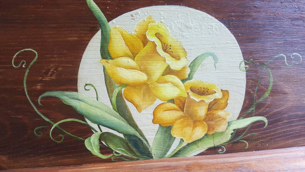 Painted Flower Shelf, Wall Hanging, Home Decor, art
