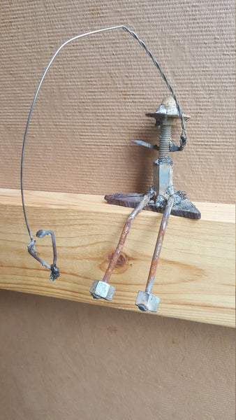 Metal Art Sculpture, Fisherman Fishing with Hooked Fish on line, FREE SHIPPING