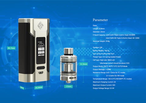 Wismec Predator 228 Specifications