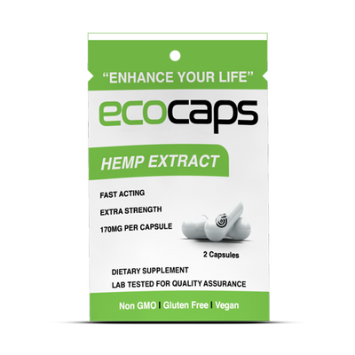 ECOCAPS CBD - 2 Count Travel Pack and 25 Count Case - 60+MG Active CBD