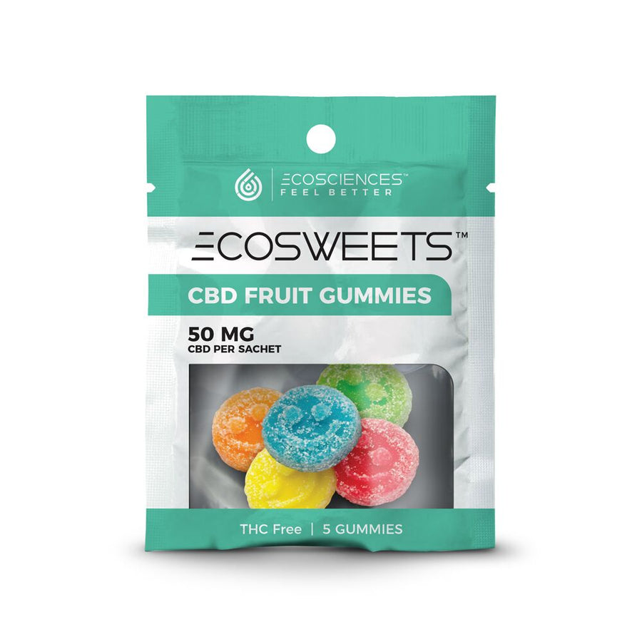 Eco Sciences ECOSWEETS are delicious, THC-free gummies that have been infused with 10mg of CBD isolate hemp extract per sweet. These fruit-flavored gummies are the perfect way to enjoy CBD treats while on the go! Each packet comes with 5 servings of gummies which totals to 50mg of CBD per bag. Each batch of CBD isolate hemp extract has been lab tested for quality assurance.