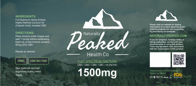 Tincture 1500mg CBD Full-Spectrum | Naturally Peaked Health Co. by Naturally Peaked Health Co. Available on ELiquid Universe