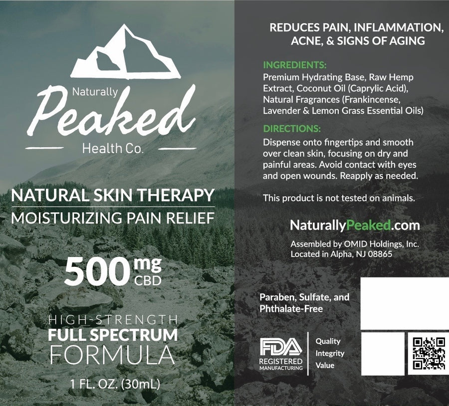 Naturally Peaked Moisturizing Pain Relief CBD Infused Lotion | Full-Spectrum Strengths - 250MG and 500MG.
