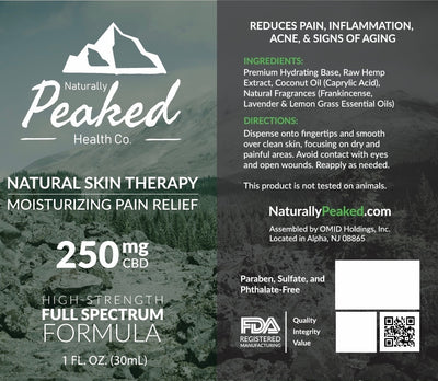 Naturally Peaked Moisturizing Pain Relief CBD Infused Lotion | Available in Two Different Full-Spectrum Strengths - 250MG and 500MG.