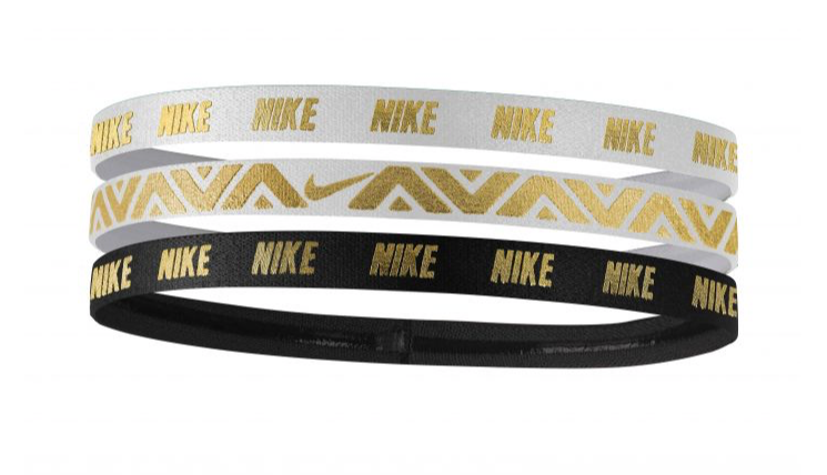 Nike Metallic Headbands Black White and Gold