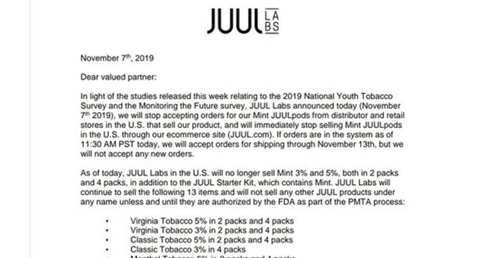Juul stops selling Mint in the United States
