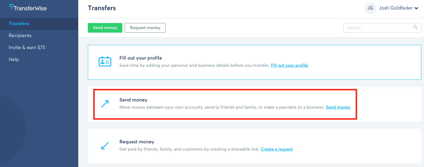 TransferWise Account Screen