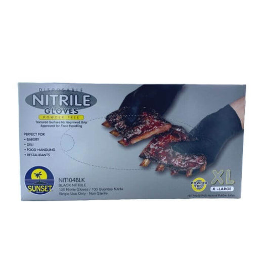 Sunset Brands Disposable Black Nitrile Gloves- VapeRanger Wholesale eLiquid/eJuice