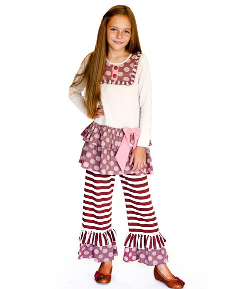 Jelly The Pug Fall Cappuccino Ruffle Tunic & Pants - Infant & Tween 12M, 18M, 3T