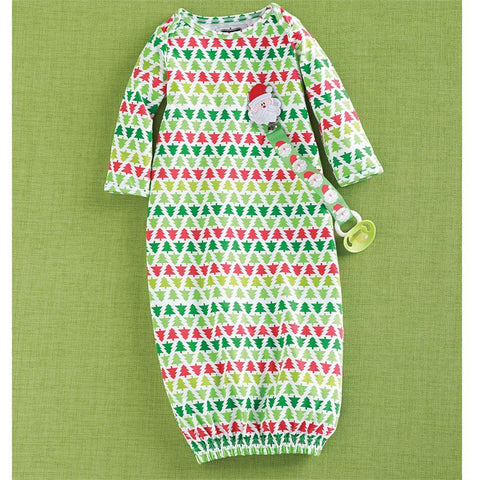MUD PIE CHRISTMAS & NEW YEAR TREE SLEEP GOWN & PACY CLIP 3-6 MONTHS