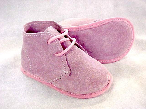 ABA Baby Girl Suede Booties Pink Made In Italy 9-12 Months, 12 Months
