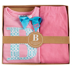 Mud Pie Pink Initial Tunic & Legging Set   J, O, T - New Born/Baby Girl 0-6M