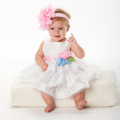 MUD PIE IVORY PARTY MULTI FLOWER DRESS AVAILABLE SIZE:12-18M, 2T, 4T