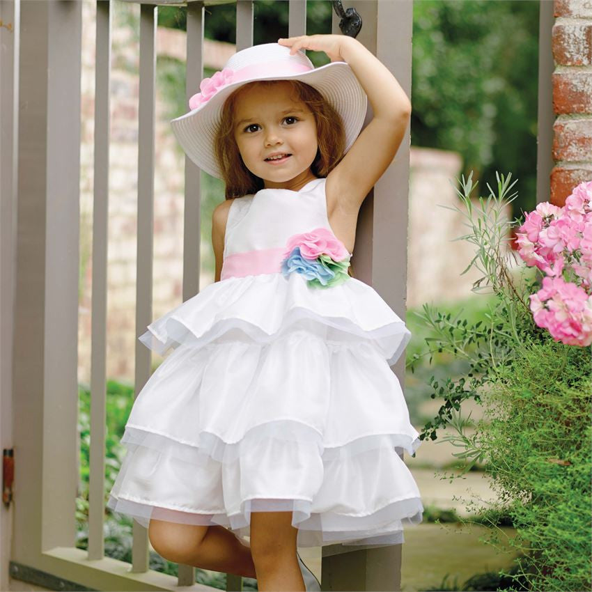 MUD PIE IVORY PARTY MULTI FLOWER DRESS AVAILABLE SIZE:12-18M, 2T, 4T - LinaAndMickey