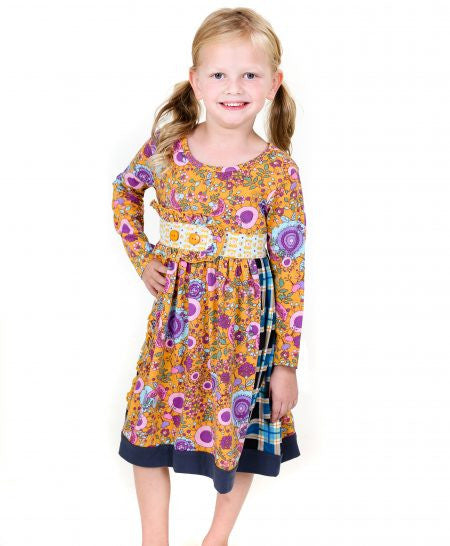 Jelly The Pug Purple & Gold Poppin' Plaid Sally Dres - Girls 2T, 3T, 14