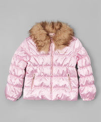 Juicy Couture Pink Faux Fur Collar Puffer Jacket  Girls Size:5 MSRP:$84.50 - LinaAndMickey