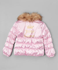 Juicy Couture Pink Faux Fur Collar Puffer Jacket  Girls Size:5