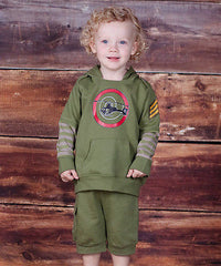 Jelly The Pug Green Helicopter Hoodie & Shorts Size: 24MO.MSRP:$69. - LinaAndMickey