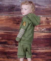 Jelly The Pug Green Helicopter Hoodie & Shorts Size: 24MO.MSRP:$69.