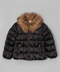 Juicy Couture Girls Black Faux Fur Collar Puffer Jacket Size: 5 MSRP:$84.50 - LinaAndMickey