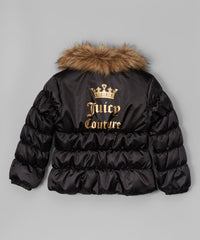 Juicy Couture Girls Black Faux Fur Collar Puffer Jacket Size: 5