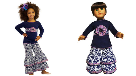 "AnnLoren Girls Navy Blue Damask Set 4-5T + 18"" Dolls Outfit"