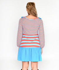 Jelly The Pug Women  Blue Stripe Rosetta Dress  S,M,L,XL,XXL RRP:$75 - LinaAndMickey
