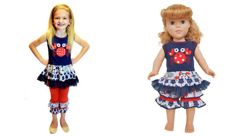 "AnnLoren Seaside Nautical Crab Girls Outfit +Matching 18"" Doll Outfit RRP:$67.98 - LinaAndMickey"