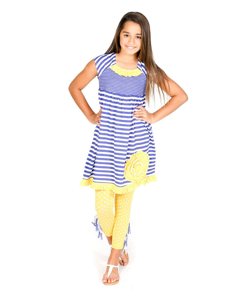 Jelly The Pug Nautical Sophia Dress & Leggings - Toddler Girls Size:3T RRP:$65 - LinaAndMickey