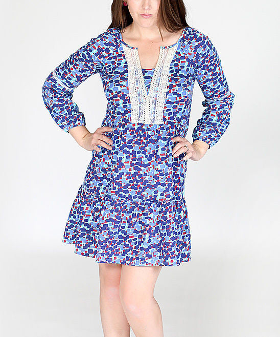Jelly The Pug Blue Geometric Lola Dress Size:XL - LinaAndMickey