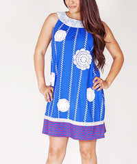 Jelly the Pug Blue Unique Women Sunburst Stripe Shift Dress Size:S RRP:$68 - LinaAndMickey