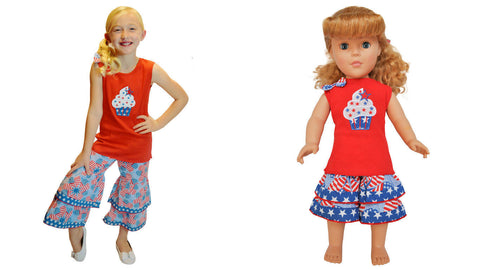 "AnnLoren Girls Chevron & Polka Dot Rumba Tunic & Capri +18"" Doll Outfit $67.98 - LinaAndMickey"