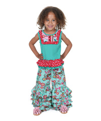 Jelly The Pug Teal Love Birds Brandy Top & Pants -Size:2T,3T,4T,4,6, MSRP:$69 - LinaAndMickey
