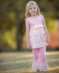 AnnLoren Girls Chevron & Polka Dot Rumba Tunic & Capri +18