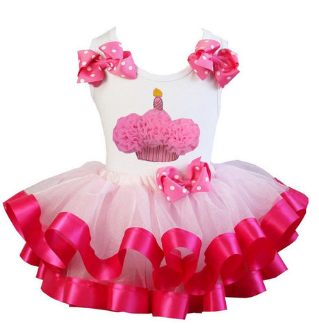 Birthday Cupcake Top and Tutu Skirt Infant Baby & Toddler Girls - LinaAndMickey