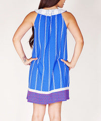 Jelly the Pug Blue Unique Women Sunburst Stripe Shift Dress Size:S RRP:$68