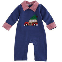 MUD PIE BABY BOY CHRISTMAS NEW YEAR HOLIDAY CAR ONE PIECE 0-6M, 6-9M, 9-12M - LinaAndMickey