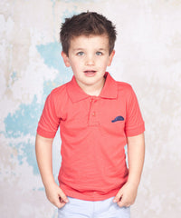 Jelly The Pug Very Elegant Coral Logo Polo Infant Toddler And Boys - LinaAndMickey