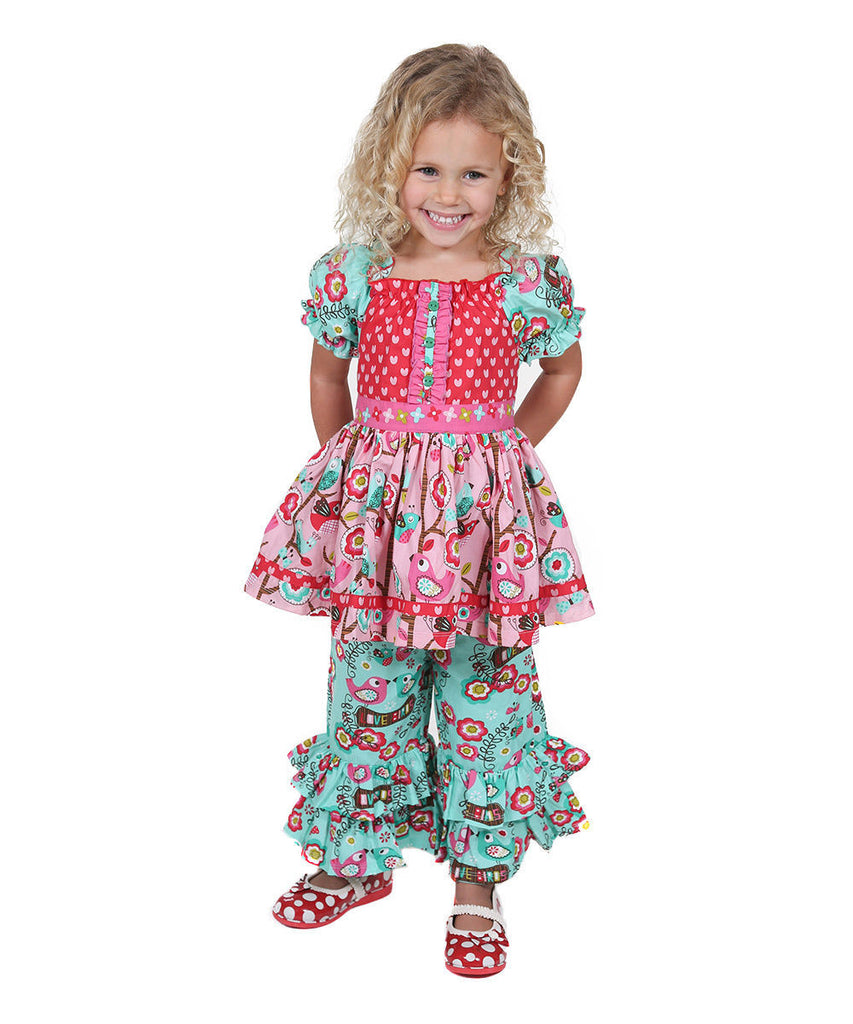 Jelly The Pug Teal Love Birds Kassie Set Toddler & Girls 2T,3T,4T,5,14 - LinaAndMickey