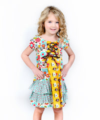 Jelly The Pug 	Blue & Yellow Playtime Natasha Dress 4 - LinaAndMickey