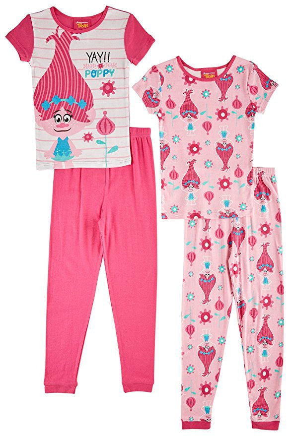 DreamWorks Trolls Queen Poppy 2 Cotton Short Sleeve Sleepwear Set -Girls Size:10