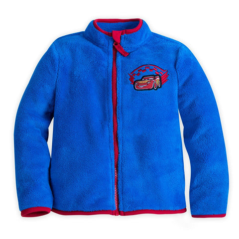 Disney Store Lightning McQueen Fleece Jacket Boys Blue 5/6 Runs Small