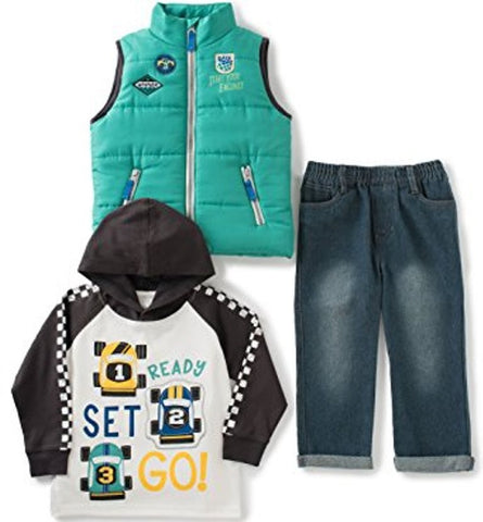 Kids Headquarters Aqua Quilted Zip-Front Vest Set 3 pcs.) - Boys Size:5, 7