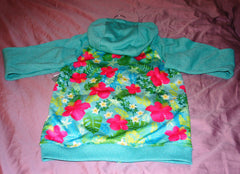 Disney Store Ariel The Little Mermaid Fleece Aqua Floral Hoodie Jacket Girl 9/10