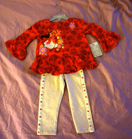 Authentic Disney Store Elena Of Avalor Tunic Leggings Set Toddler Girl Size: 2