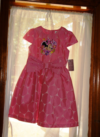 Disney Store Minnie Mouse Pink Bow Huge Polka Dot Fancy Party Dress Girl 7/8