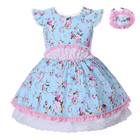Pettigirl High Waist Blue Flower Dress Party Dress Girl 1-12 Year Old + Headband